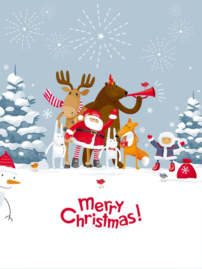 Merry Christmas fireworks. Christmas Party fireworks in the winter forest. Party with the participation of Santa Claus and funny cartoon forest animals: elk vector illustration