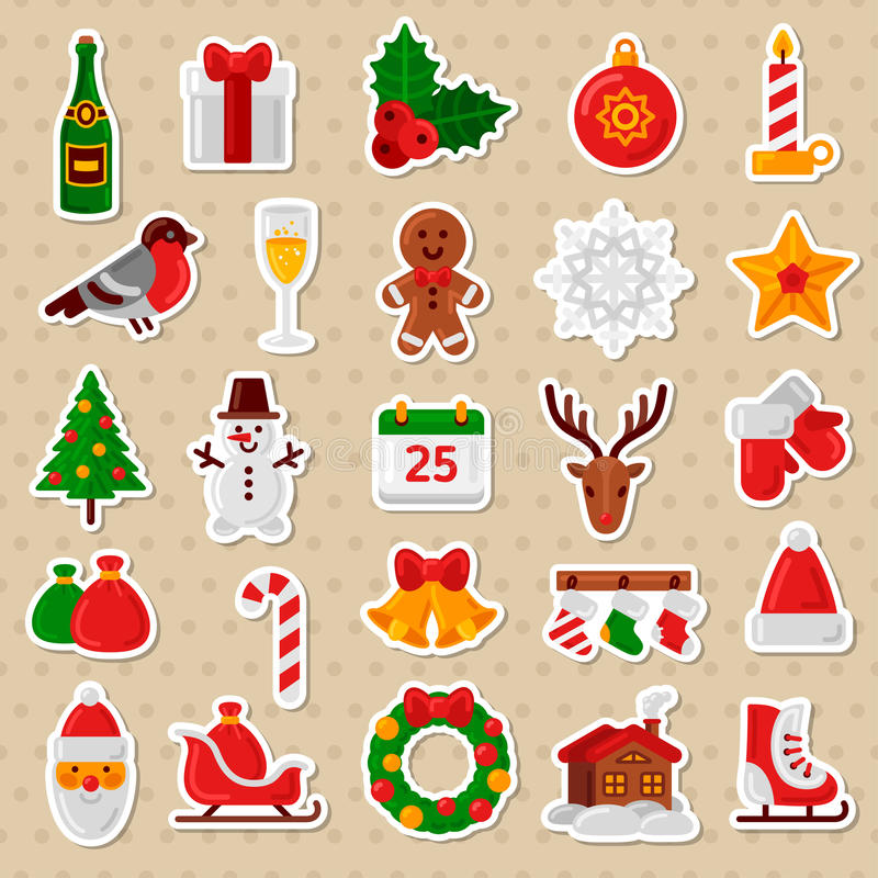 Merry Christmas Flat Icons. Happy New Year Stickers. vector illustration