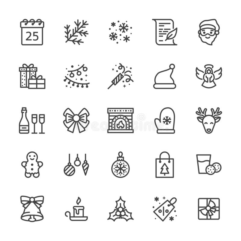 Merry Christmas flat line icons. Fir branch, snowflakes, presents, letter to santa claus, lights garlands decoration vector illustration