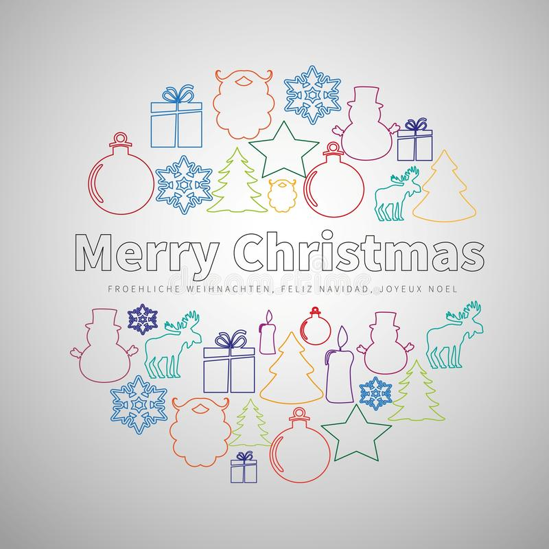 Free Merry Christmas Flat Line Simple Set In Circle Shape, Christmas Royalty Free Stock Photos - 78705158