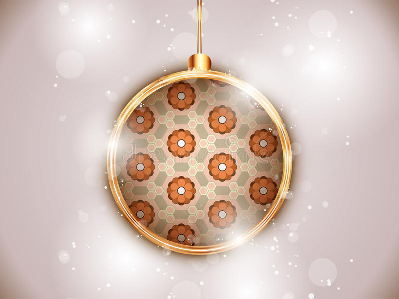 Merry Christmas Flower Balls with Retro Background stock illustration