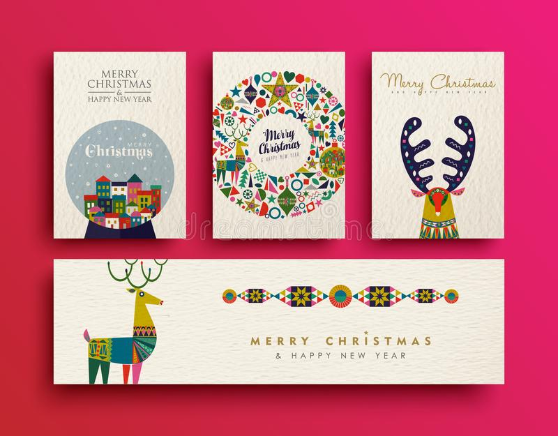 Merry Christmas folk art holiday card collection vector illustration