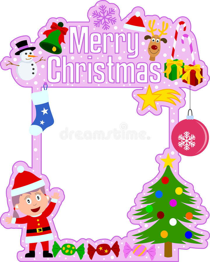 Merry Christmas Frame [Girl] Stock Vector - Illustration of december ...