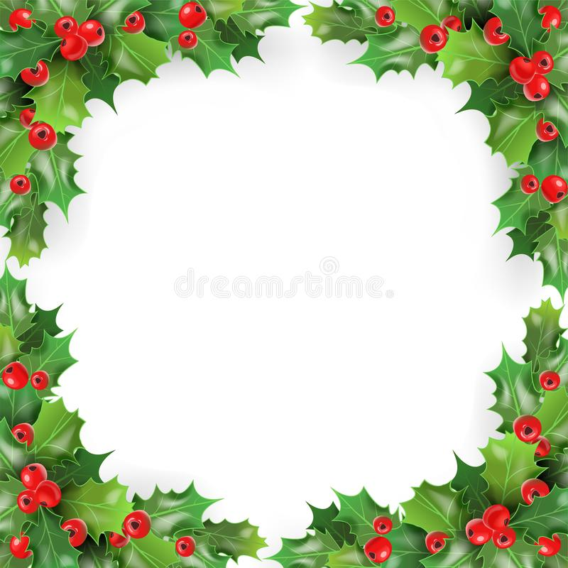 Merry Christmas Frame with Mistletoe, Holly Berries. Winter Holidays Greeting Card Template. Vector illustration stock illustration
