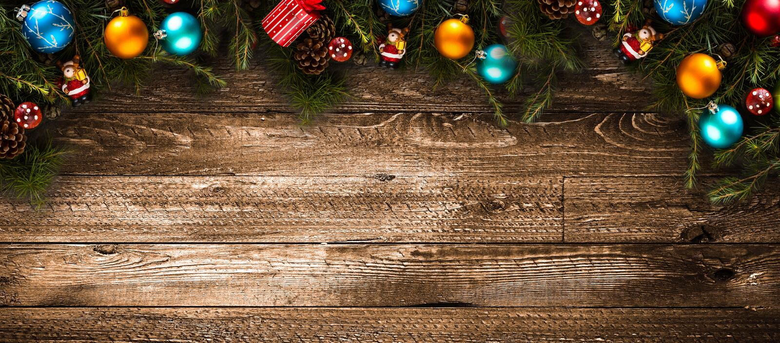 Merry Christmas Frame with real wood green pine and colorful baubles,. Merry Christmas Frame with real wood green pine, colorful baubles, gift boxe and other royalty free stock image