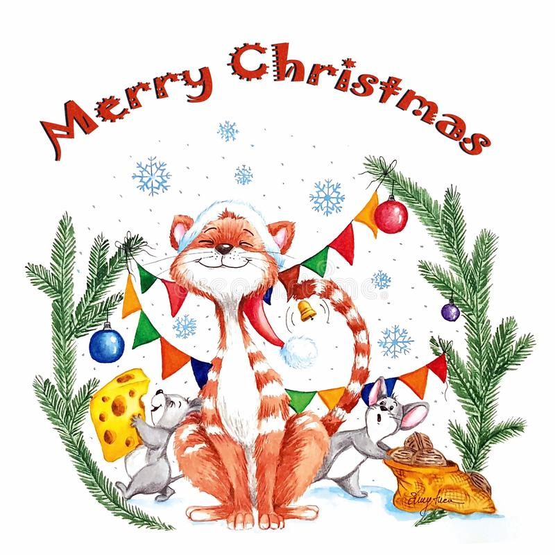 Watercolor Merry Christmas illustration with a funny cat with red hat and two litlle mouses steeling cheese and nuts royalty free illustration
