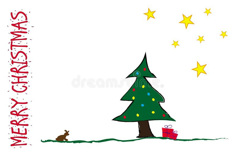 Merry Christmas Funny Postcard stock images