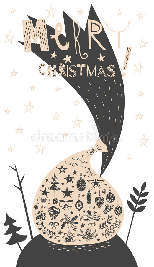 Merry christmas gift bag with icon set card stock vector vector postcard sign merry christmas magic santa gift bag with christmas icons set spruce bows oak and fir branches bells pinecones stars acorns m4hsunfo Images