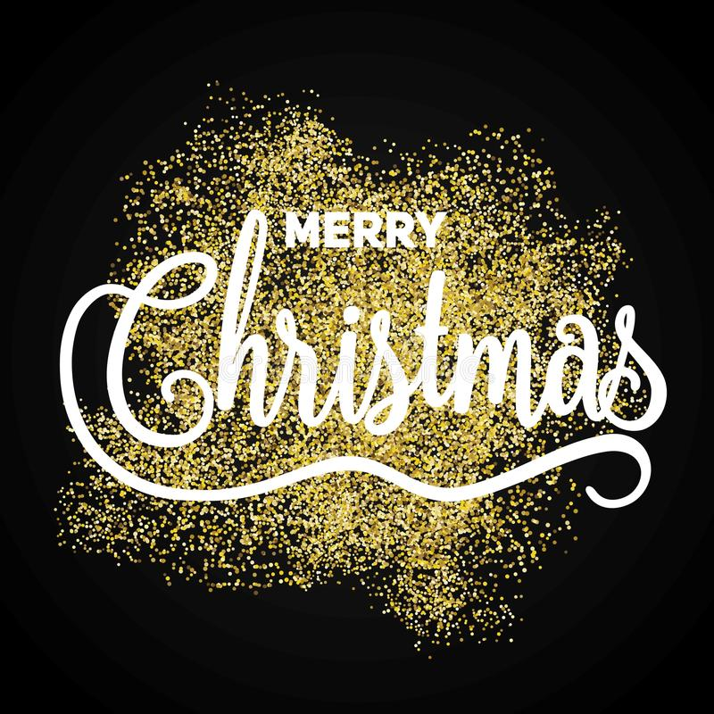 Merry Christmas gift poster. Christmas gold glittering dust with royalty free stock image