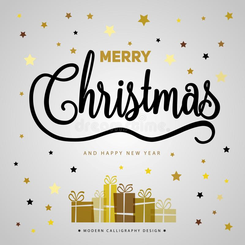 Merry Christmas gift poster. Christmas gold glittering with lettering design. Happy new year design card. Christmas box surprise stock photography