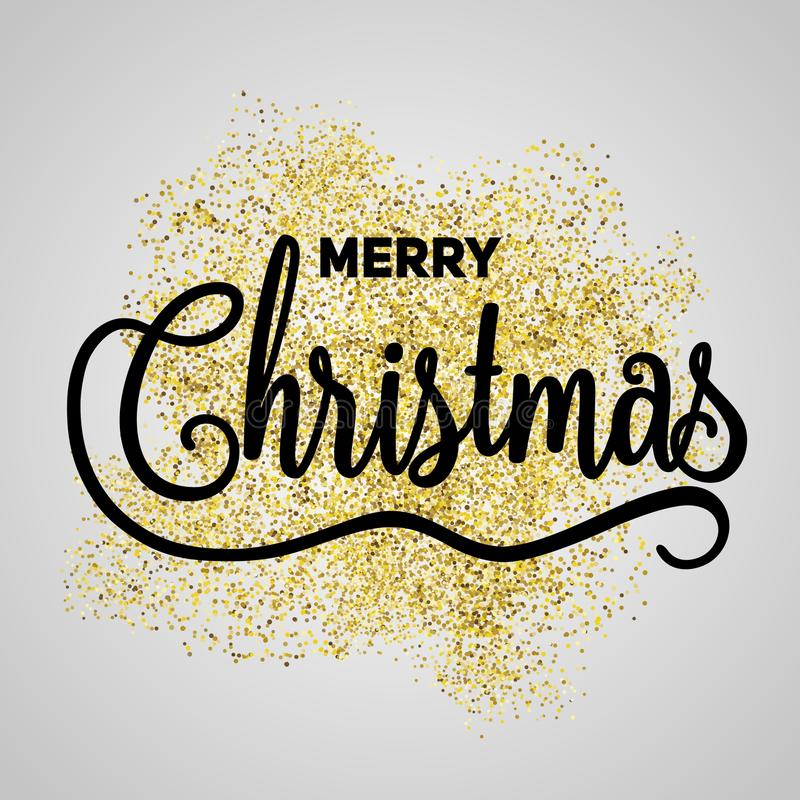 Merry Christmas gift poster. Christmas gold glittering lettering stock images