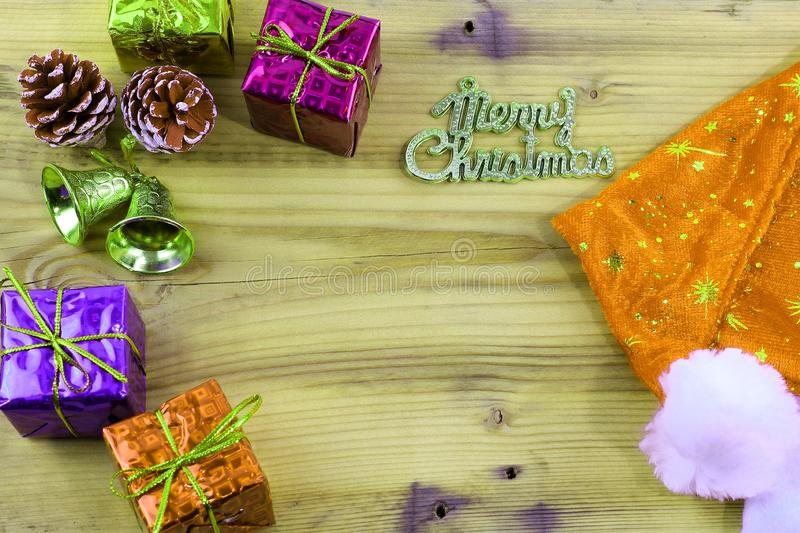 Merry Christmas gift and toy and wooden stock image