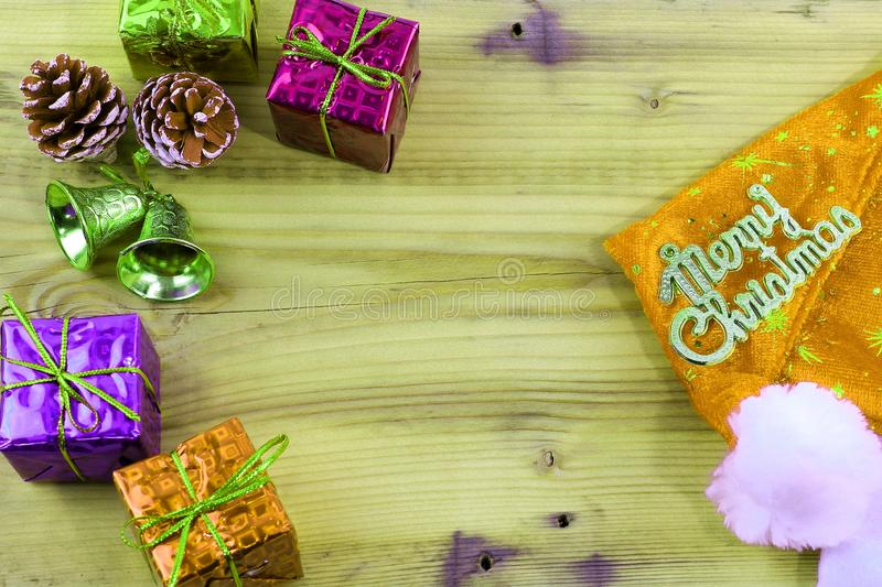 Merry Christmas gift and toy and wooden stock photography