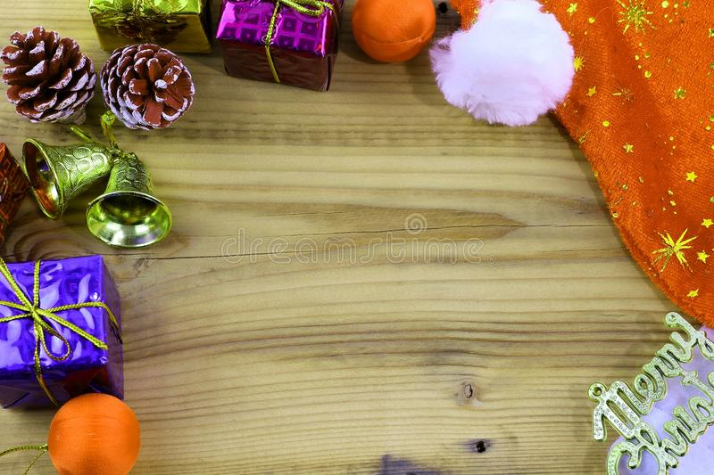 Merry Christmas gift and toy and wooden royalty free stock photography