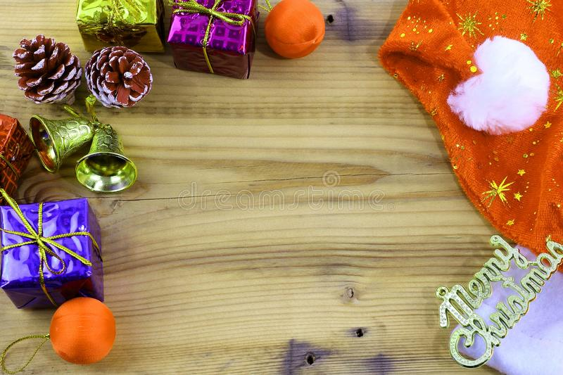 Merry Christmas gift and toy and wooden stock photo