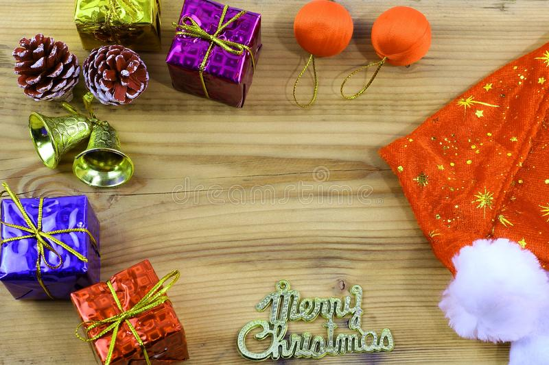 Merry Christmas gift and toy and wooden royalty free stock photos