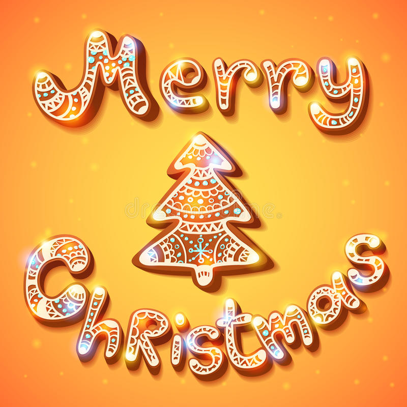 Download Merry Christmas Gingerbread Text And Tree Postcard Stock Vector - Image: 43227571