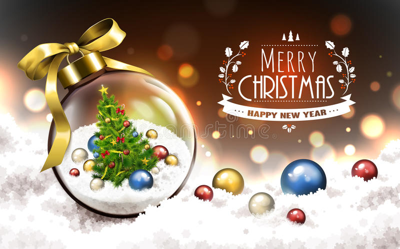 Merry christmas glass ball stock illustration