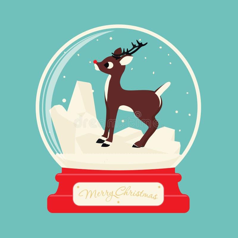 Merry christmas glass ball with Reindeer Rudolf stock illustration