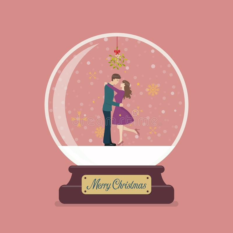 Merry christmas glass ball with couple are kissing under the mistletoe vector illustration