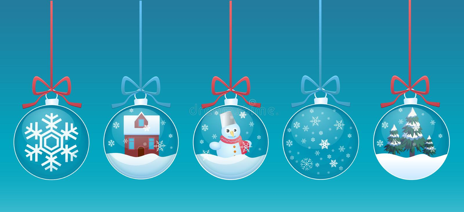 Merry christmas glass ball with toys inside set. Vector illustration stock illustration