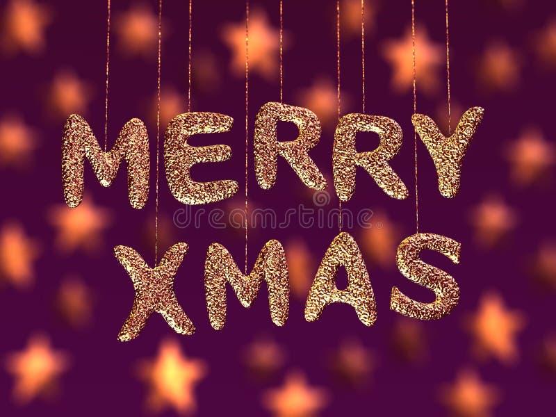 Merry christmas, glitter letters vector illustration
