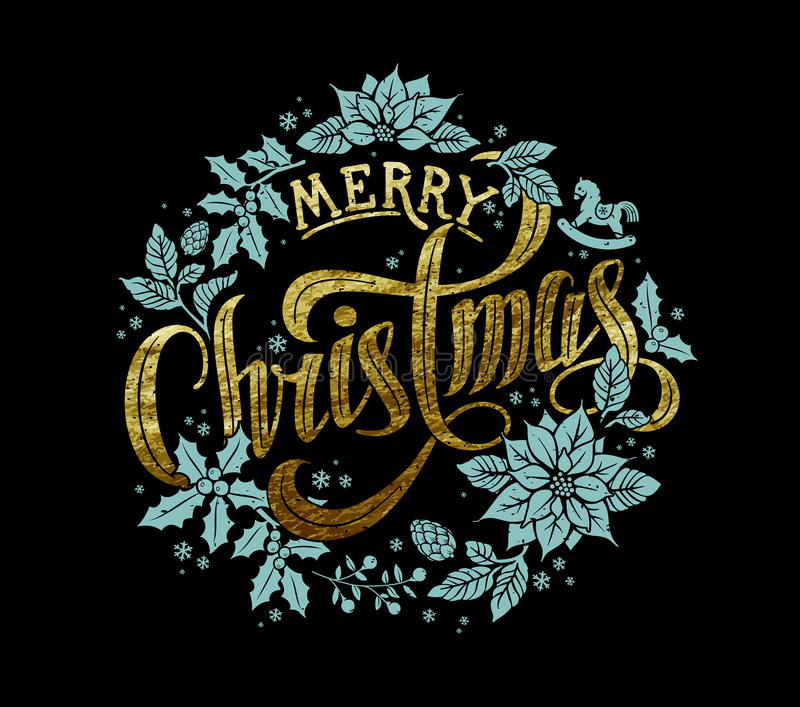 Merry Christmas Gold Calligraphic Lettering Design stock photos