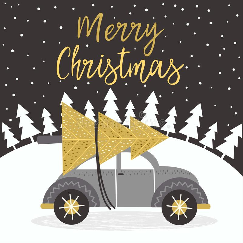 Merry Christmas gold card with car vector illustration