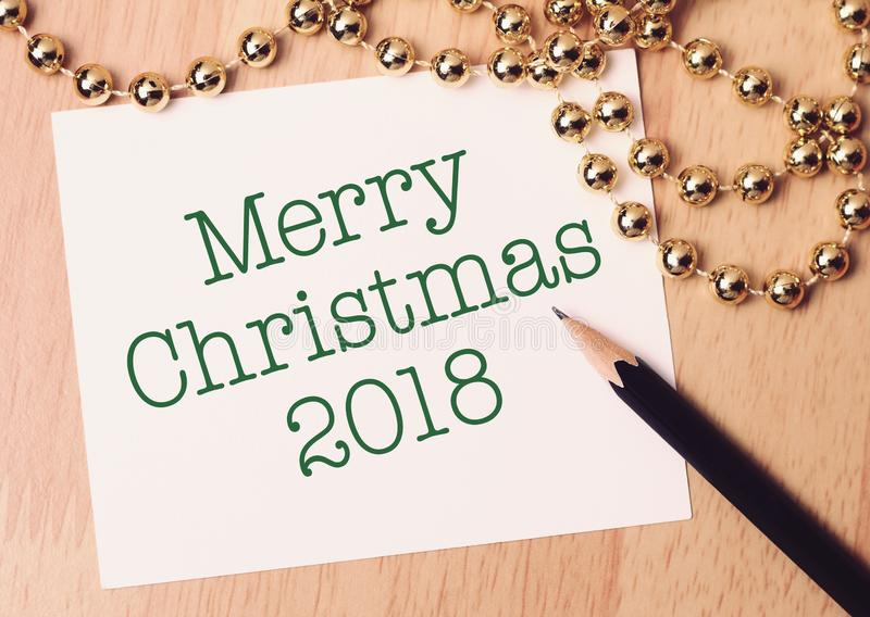 Merry Christmas 2018 with gold decoration. Wishing you wonderful memories during this joyous season royalty free stock photo
