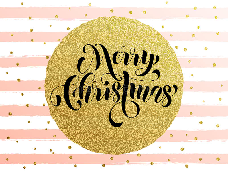 Merry Christmas gold glitter gilding greeting card vector illustration