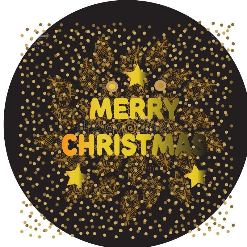 Merry Christmas gold glittering lettering design. Vector illustration . balls vector illustration