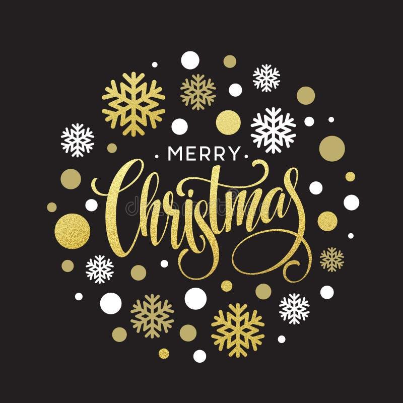 Merry Christmas gold glittering lettering design. Vector illustration stock illustration