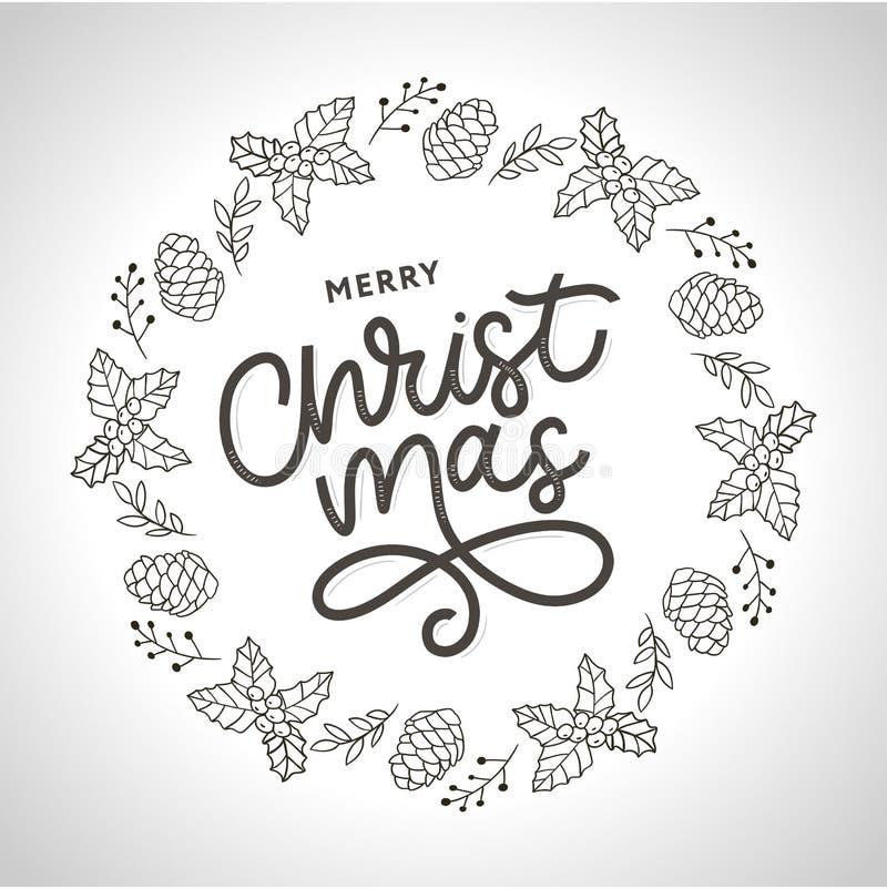 Merry Christmas gold glittering lettering design. Vector illustration EPS 10 royalty free illustration