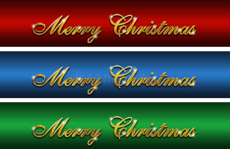 Merry Christmas Gold glossy logos stock photography