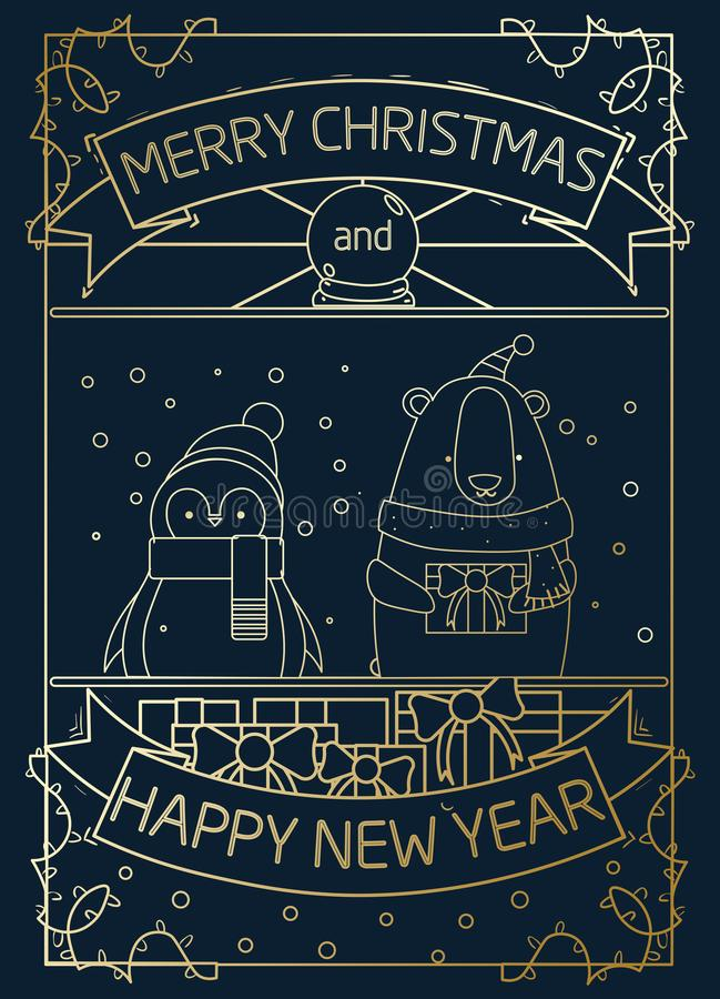 Merry Christmas gold greeting card design with geometric penguin stock illustration