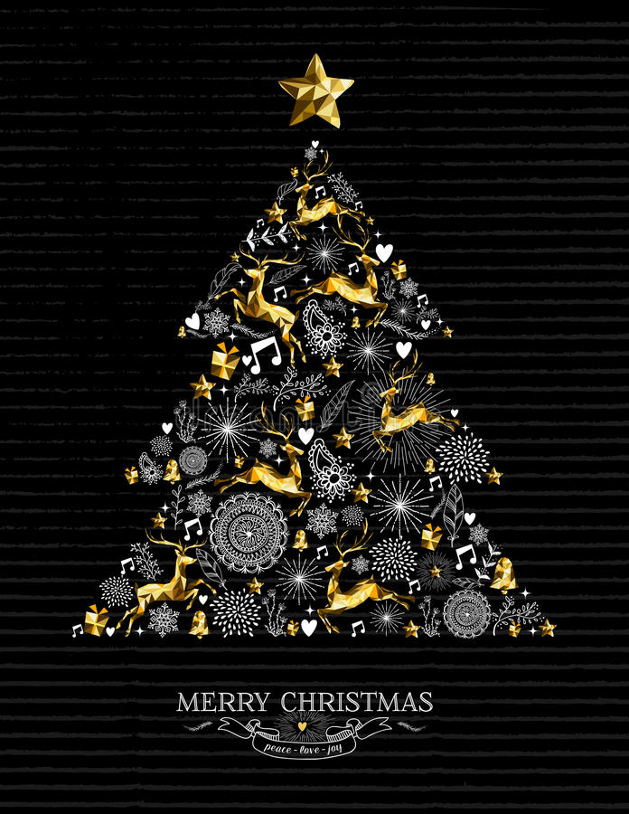 Merry christmas gold tree xmas shilouette reindeer royalty free illustration