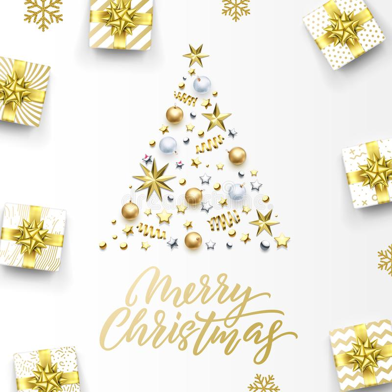 Merry Christmas golden greeting card, Xmas tree gold gifts and calligraphy text. Vector golden snowflakes, stars confetti stock illustration