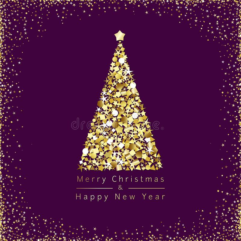 Merry Christmas golden greetings royalty free illustration