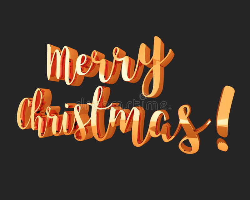 Merry Christmas golden sign on black background, design element for banners, flyers. 3D illustration. vector illustration