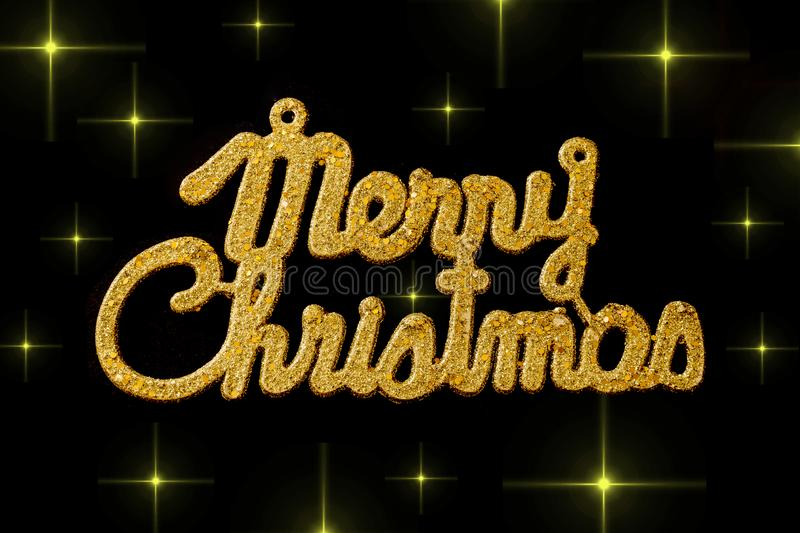 Merry Christmas golden text on a black background with stars royalty free illustration