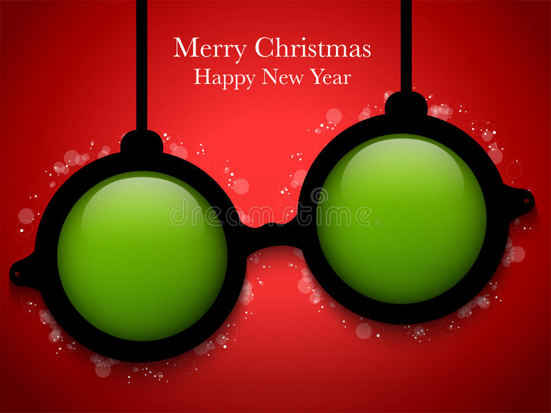 Download Merry Christmas Green Ball With Glasses Stock Vector - Image: 34725226