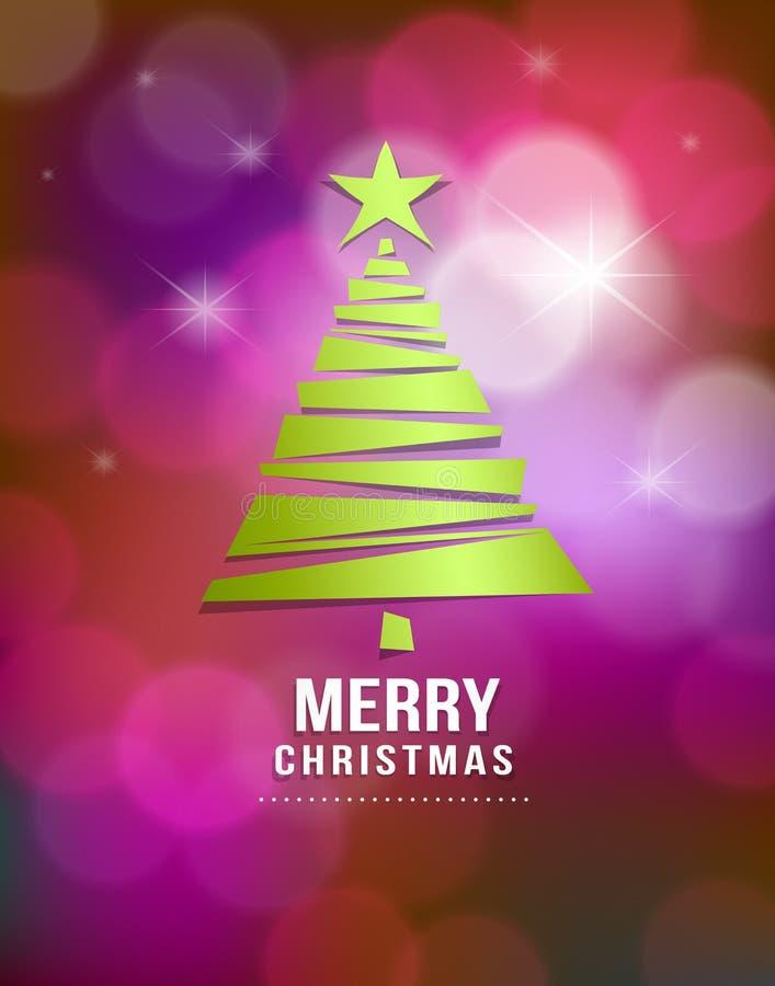 Merry Christmas green tree paper vector illustration