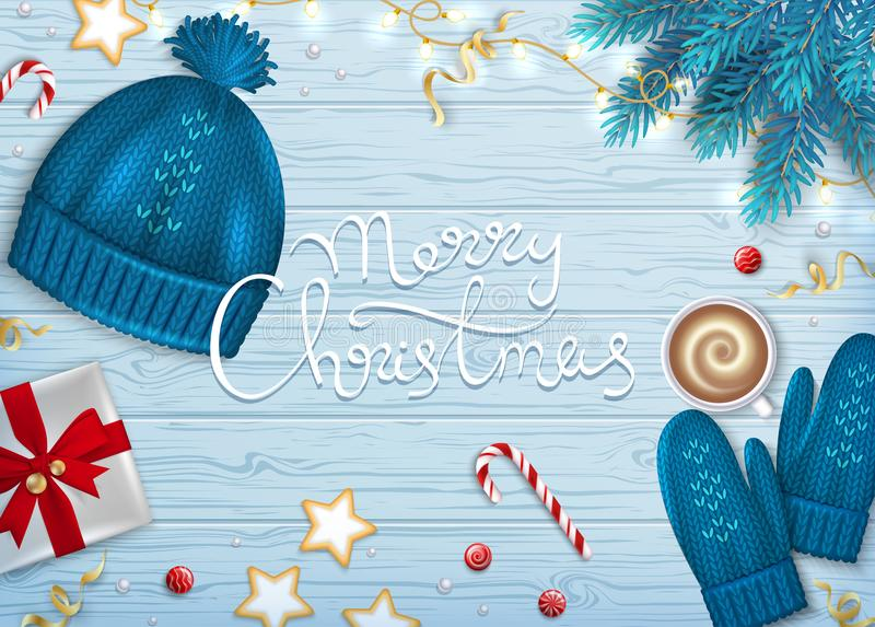 Merry Christmas Greeting Background. Winter Elements fir branches, knitted blue hat, mittens, coffee with foam, paper gift box royalty free illustration