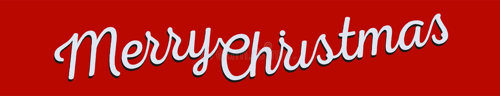 Merry Christmas greeting banner. White lettering on red background, retro design. Vectors. royalty free illustration