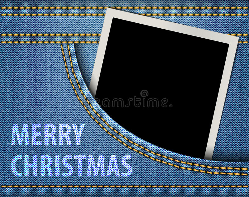 Merry Christmas greeting and blank photo frame in blue jeans pocket. Vector illustration royalty free illustration