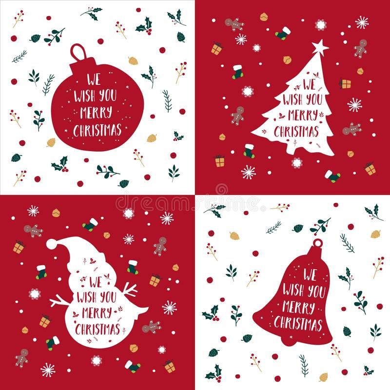Free Merry Christmas Greeting Bundle Vector Silhouette Royalty Free Stock Image - 164030636