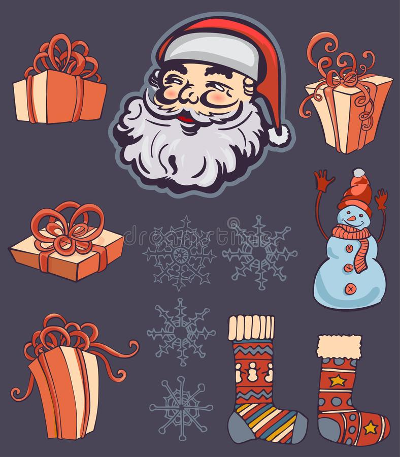 Free Merry Christmas Greeting Bundle With Retro Santa Claus, Socks And Gift Boxes. Vintage Styled. Stock Photos - 166466593
