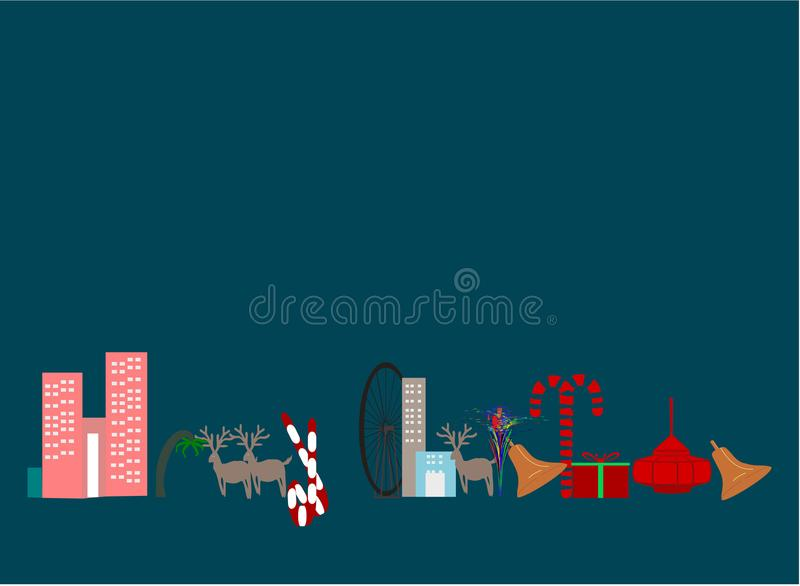 Merry Christmas greeting card background randier hanging lite golden bell buildings tree crackers Plain clean vector Illustration vector illustration