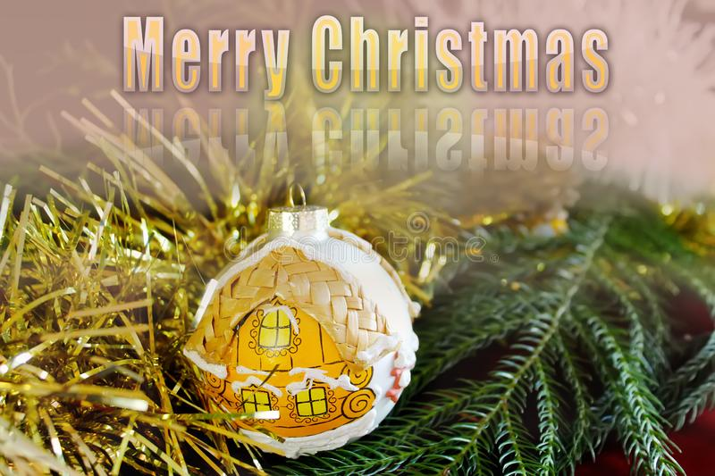Merry Christmas greeting card with Christmas ball and holiday decorations stock image