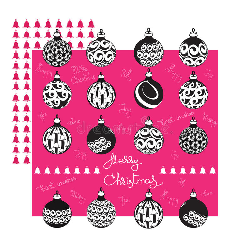 Merry Christmas greeting card with balls and handwritten words. Merry Christmas greeting card with flat black white ornate balls and handwritten words on a pink stock illustration